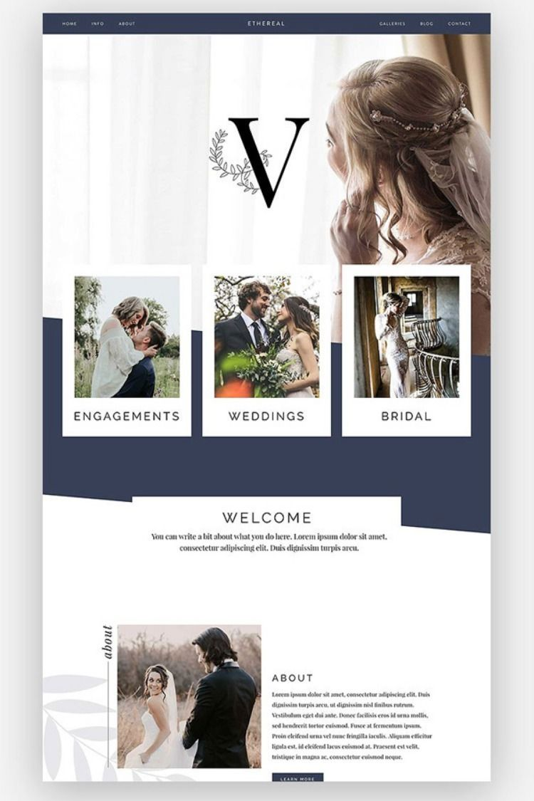 Ethereal Is Gorgeous Modern And Feminine This Template Perfect For An Photographer Of