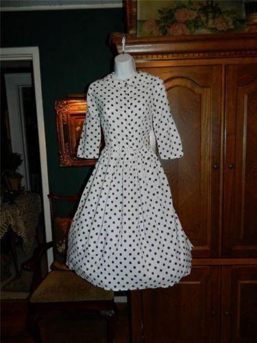 Vintage 60 s Crepe White w Black Polka Dots Dress w Full Skirt M | eBay