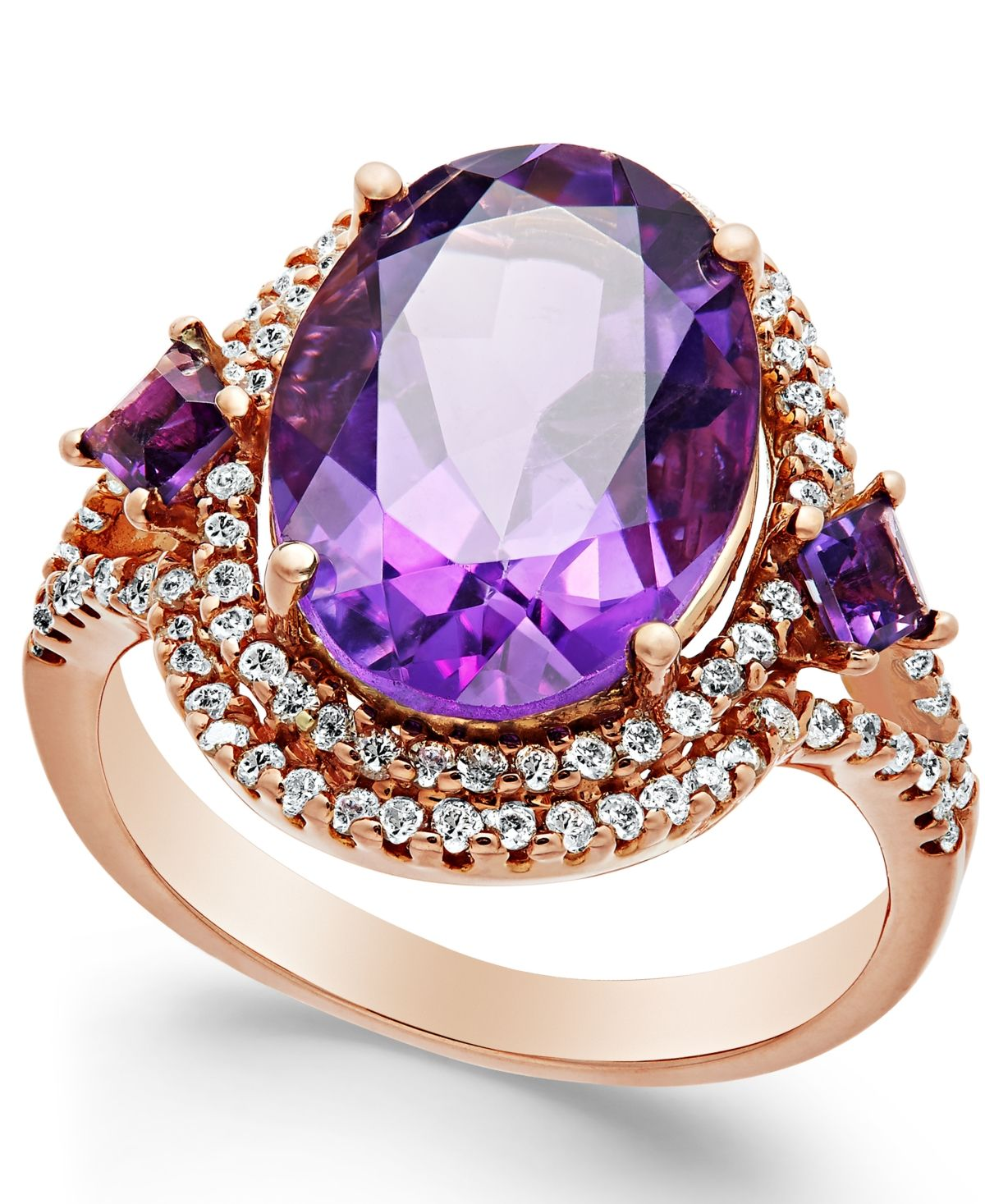 Sterling Silver 5.00 ct tw Checkerboard Faceted Amethyst Ring Size 9