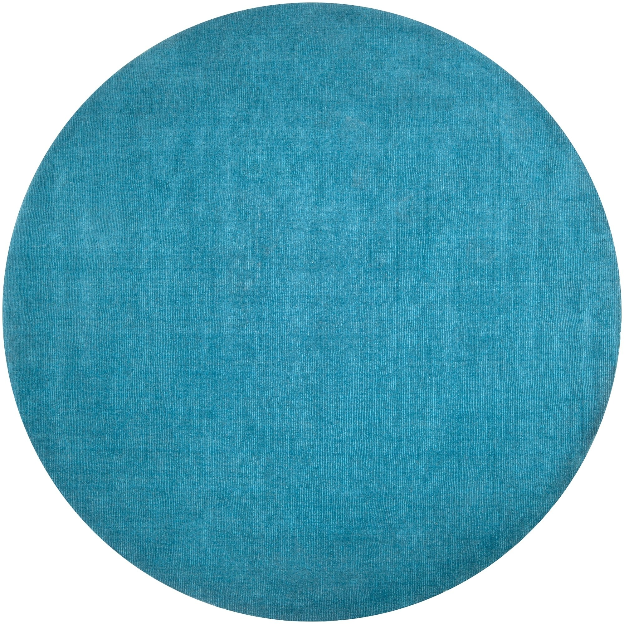 Hand Crafted Teal Blue Solid Casual Ridges Wool Area Rug 9 9 Round 9 9 Round Aqua Solid Area Rugs Wool Area Rugs