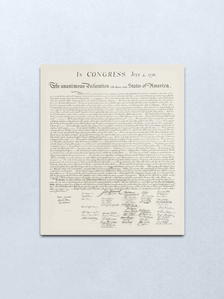 United States Declaration Of Independence Metal Print By Graphixdisplate In 2020 World History Teaching Declaration Of Independence World History Lessons