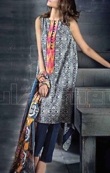 Buy Teal/White Cambric Dress by Gul Ahmed 2015.