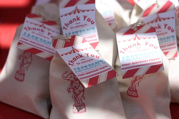 red and white vintage circus first birthday party elephant favor bags