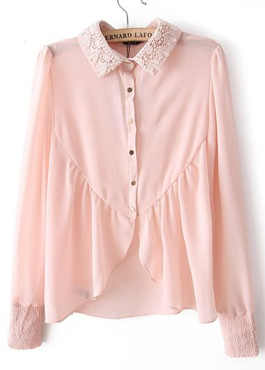 7a1ab689b88af Long Sleeve Single Breasted Pastel Pink Blouse