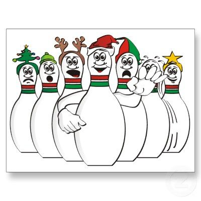 Christmas Bowling Pins Holiday Postcard Zazzle Com In 2020 Bowling Bowling League Bowling Quotes