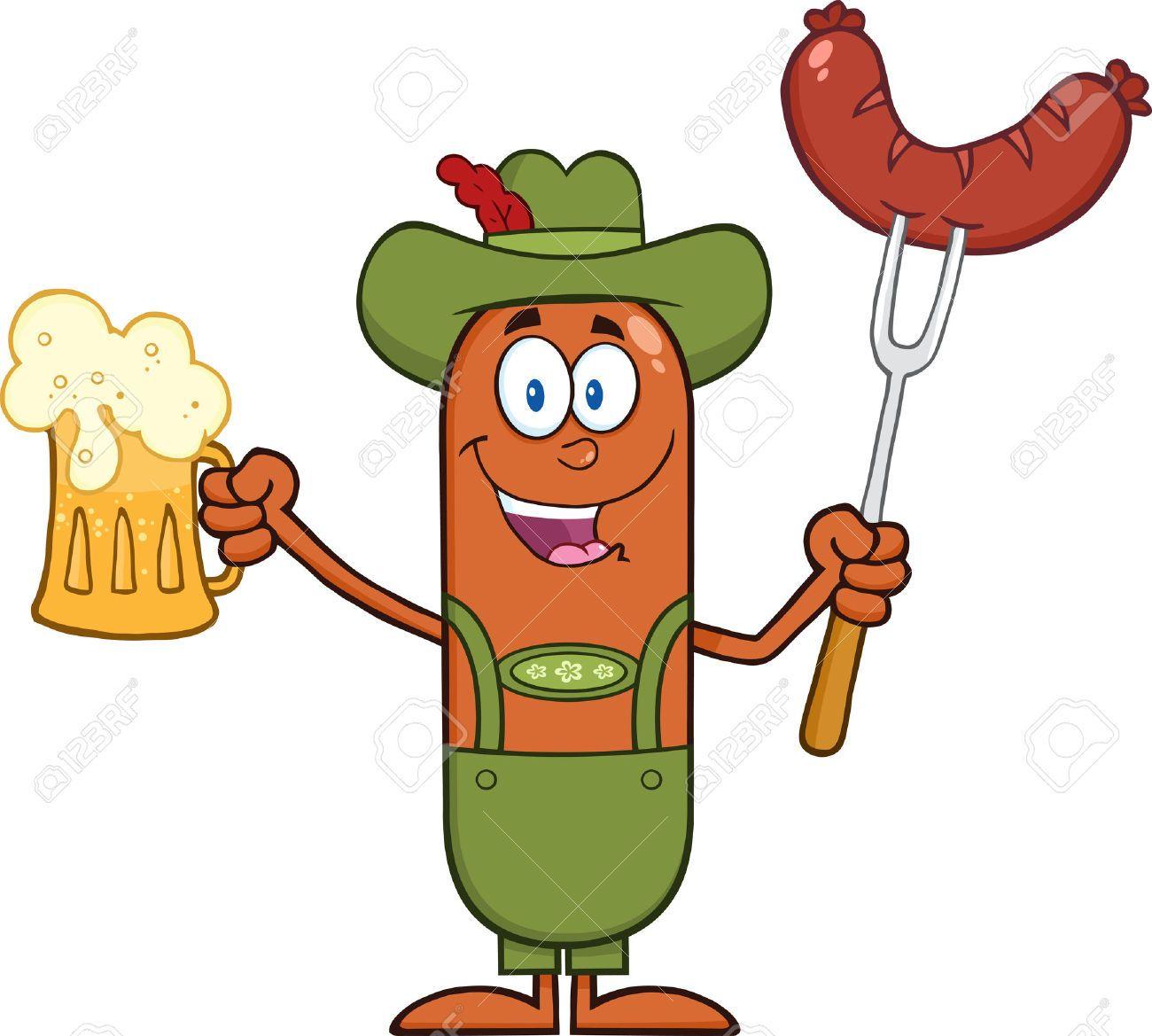 german oktoberfest sausage cartoon character holding a beer and rh pinterest com Cheese Clip Art Ham Clip Art