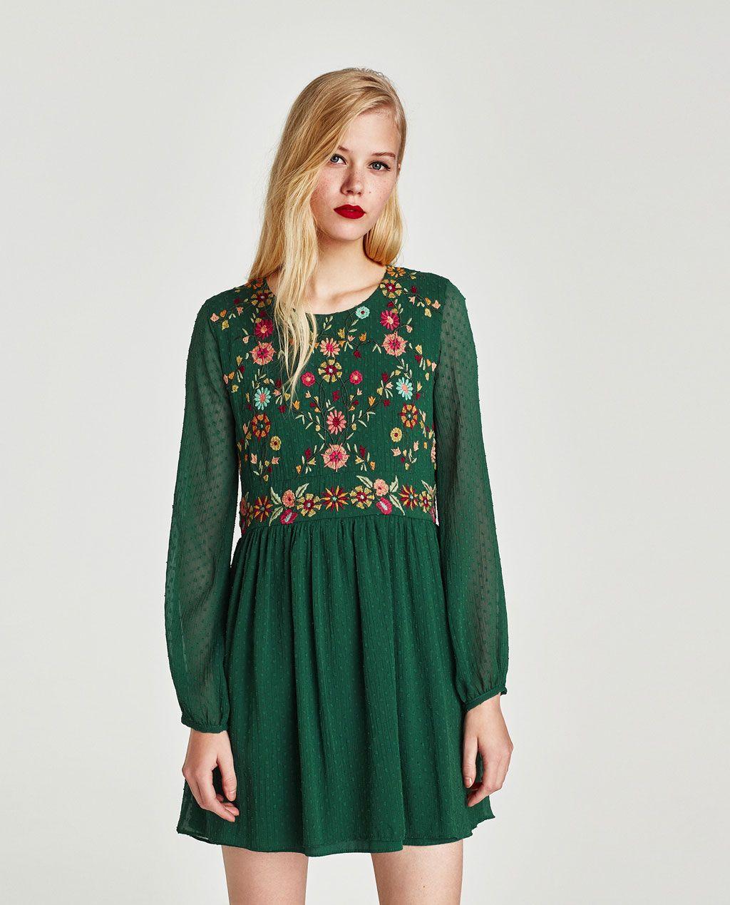 zara green dress floral