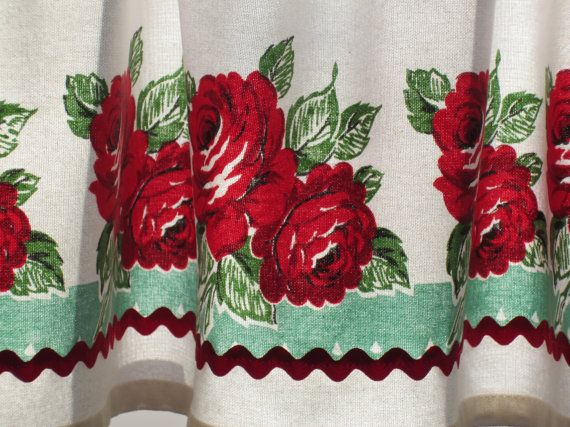 Red and Turquoise Retro Curtain Valance   New by OneJellybean