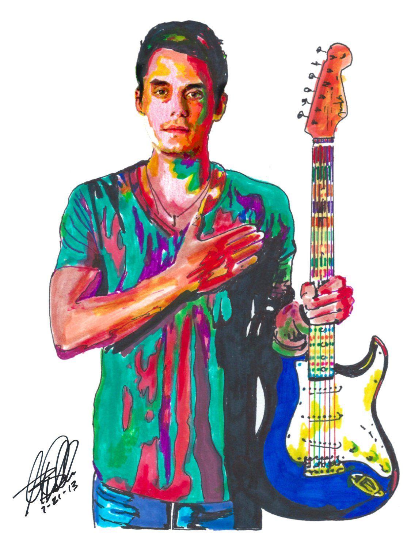 John Mayer Guitar Player Guitarist Blues Rock Acoustic Etsy John Mayer John Mayer Poster John Mayer Guitar