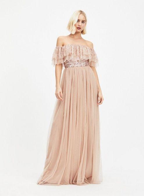 ca1be94181206 MAYA Bardot Sequin and Tulle Maxi Dress | Wedding (May 2019) | Blush ...