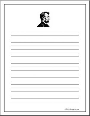 Exceptionnel Writing Paper: Abraham Lincoln (upper Elem)   Narrow Lined Writing Paper  With