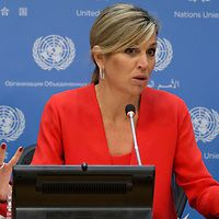 United Nations, New York, USA, June 05 2015 - Queen Maxima of the Netherlands, the Secretary-Generals Special Advocate for Inclusive Finance for Development, (UNSGSA) addresses a press conference today at the UNHQ. <br /> <br /> Credit: Luiz Rampelotto/EuropaNewswire