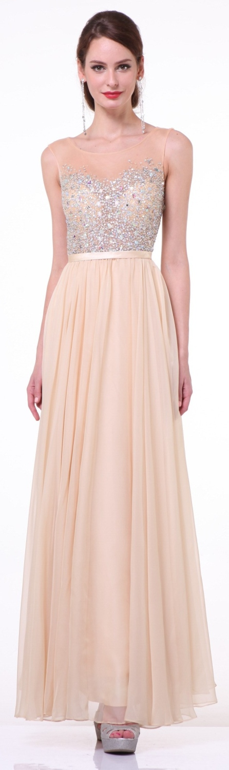 Simple and classic layered floor length A-line skirt in champagne ...