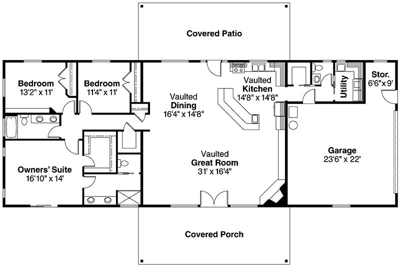 Plan 72565da Great Open Spaces Farmhouse Floor Plans Rectangle House Plans House Plans One Story
