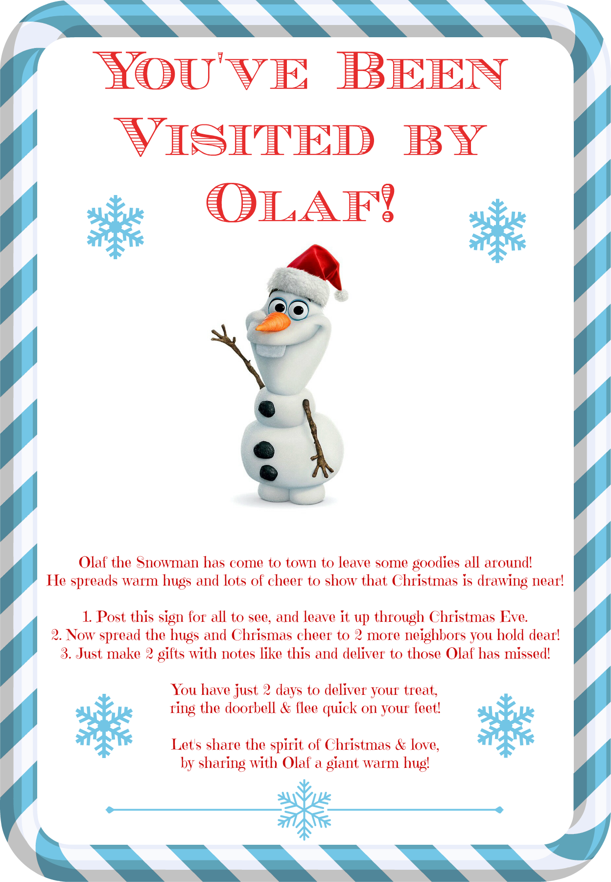 You\'ve Been Visited by Olaf ~ A New Holiday Tradition | Frozen Day ...