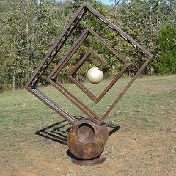 Elegant Recycled Steel Garden Or Yard / Outside And Outdoor Sculpture By Artist  Jaak Kindberg Titled: