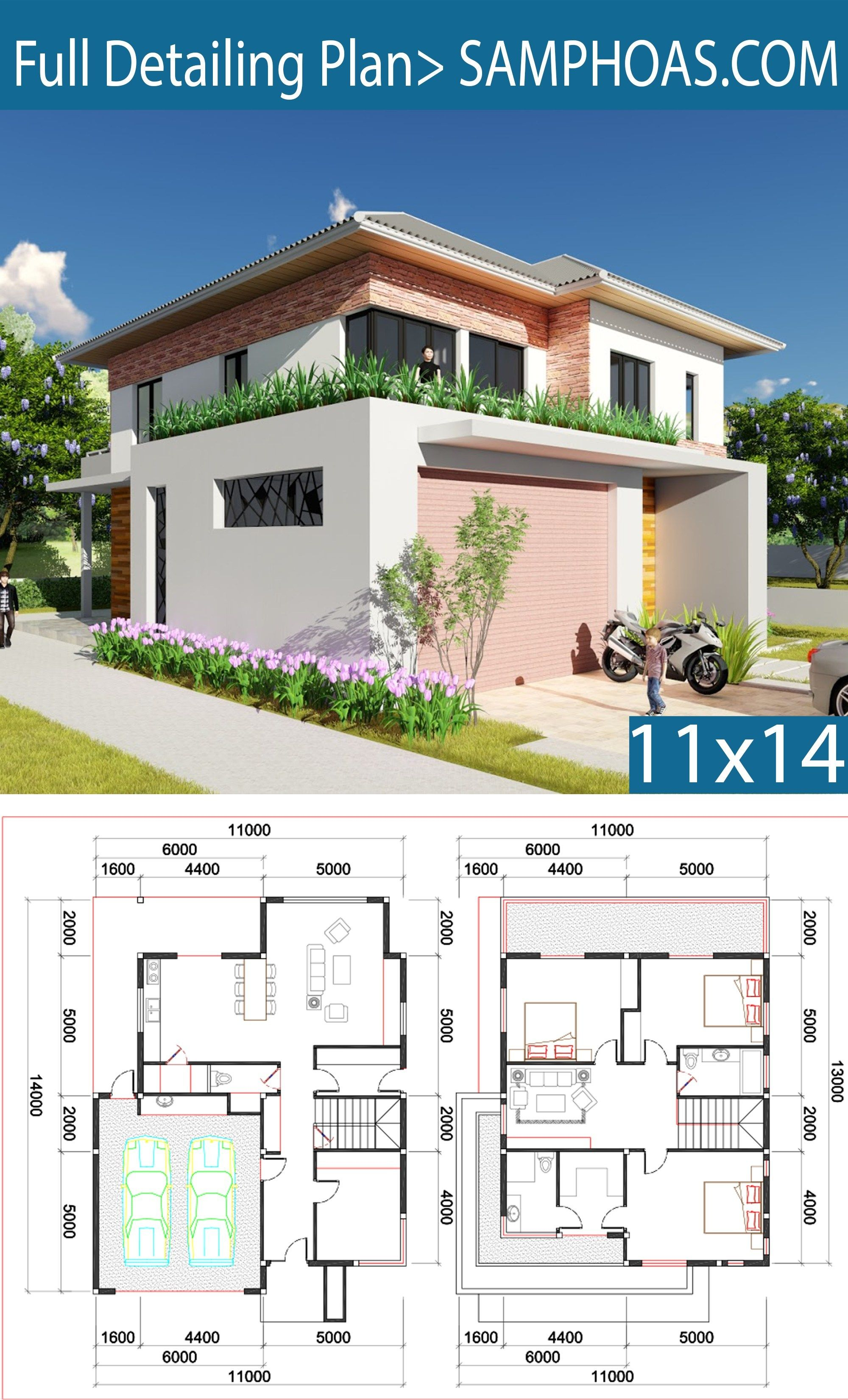 3 Bedroom Villa Design 11x13m Samphoas Plan Villa Design House Architecture Design Modern Villa Design