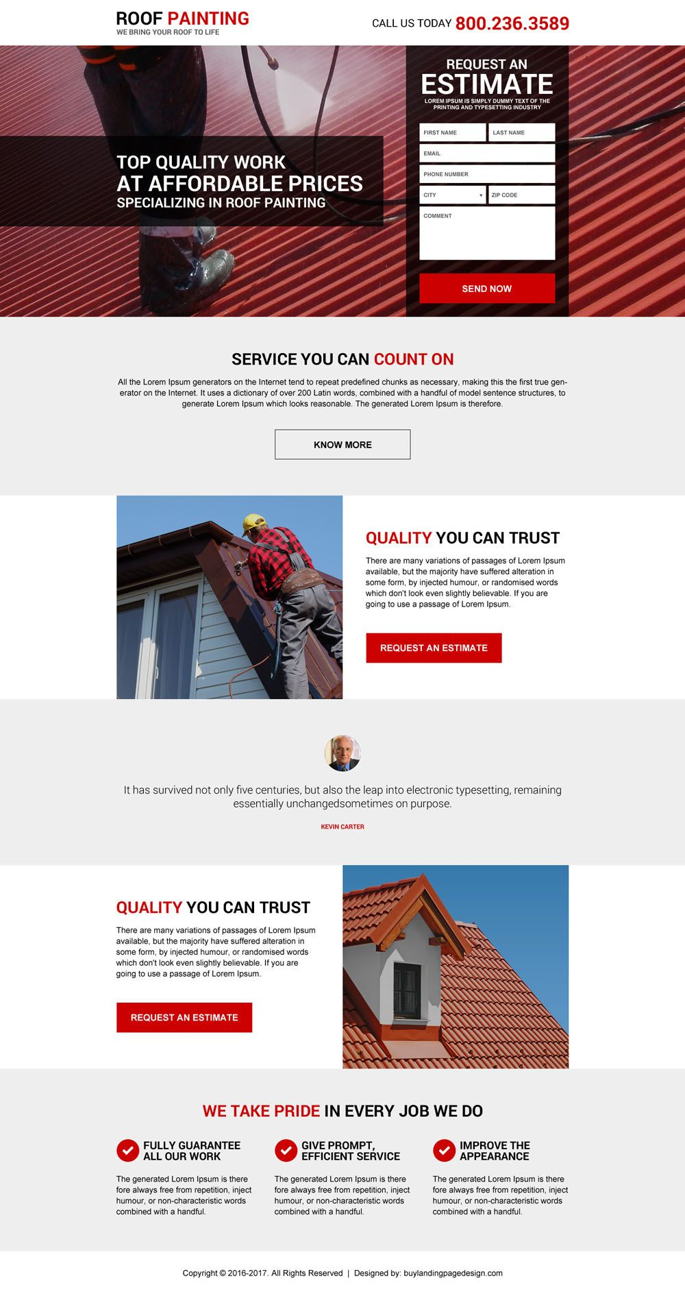 Effective And Professional Roofing Service Landing Page Designs Landing Page Design Roofing Website Design Wordpress