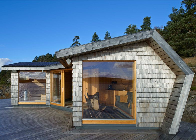 This pine-clad sauna sits on the Stockholm archipelago.