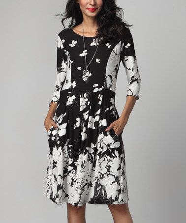 Loving this Black & White Floral Fit & Flare Pocket Dress on #zulily! #zulilyfinds