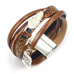 Faux Leather Rhinestoned Leaf Decorated Multilayered Bracelet