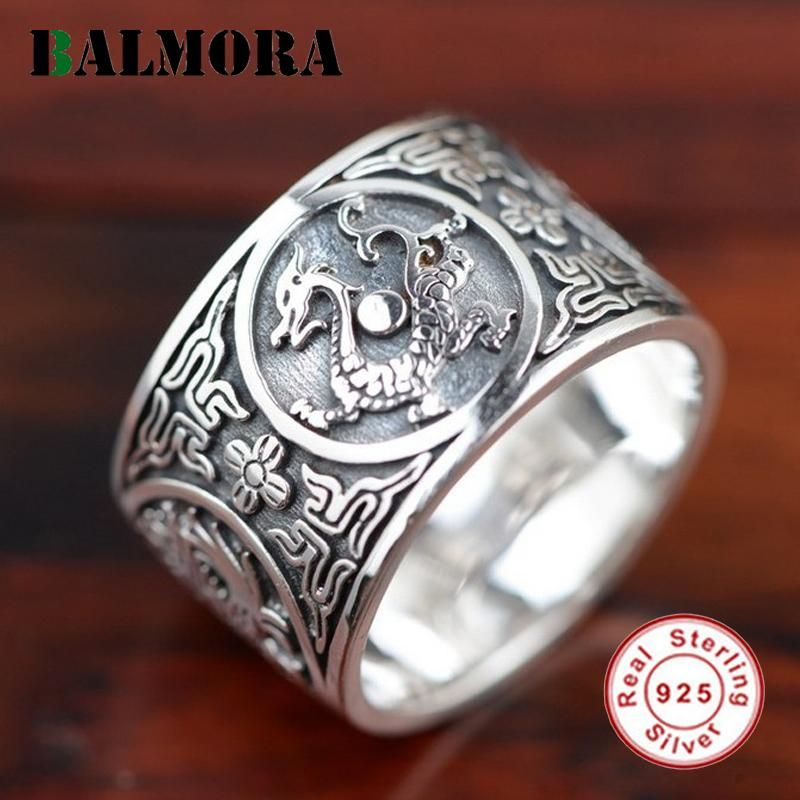 BALMORA 100% Real 925 Sterling Silver Jewelry Dragon Rings for Men Male Accessories High Quality Vintage Ring Jewelry SY20384  #silver #jewelry #animal