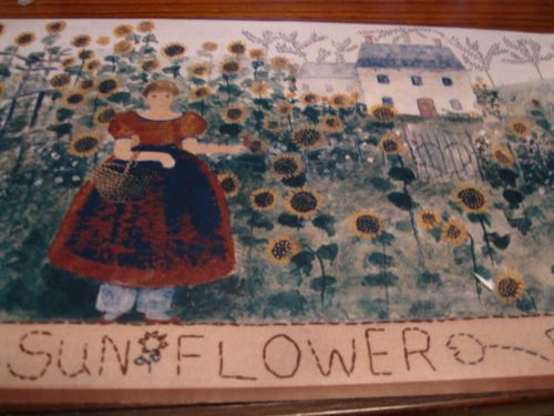 Primitive-Country-Farm-Sunflower-Garden-Brown-Wallpaper-Border-Vintage-EH00060