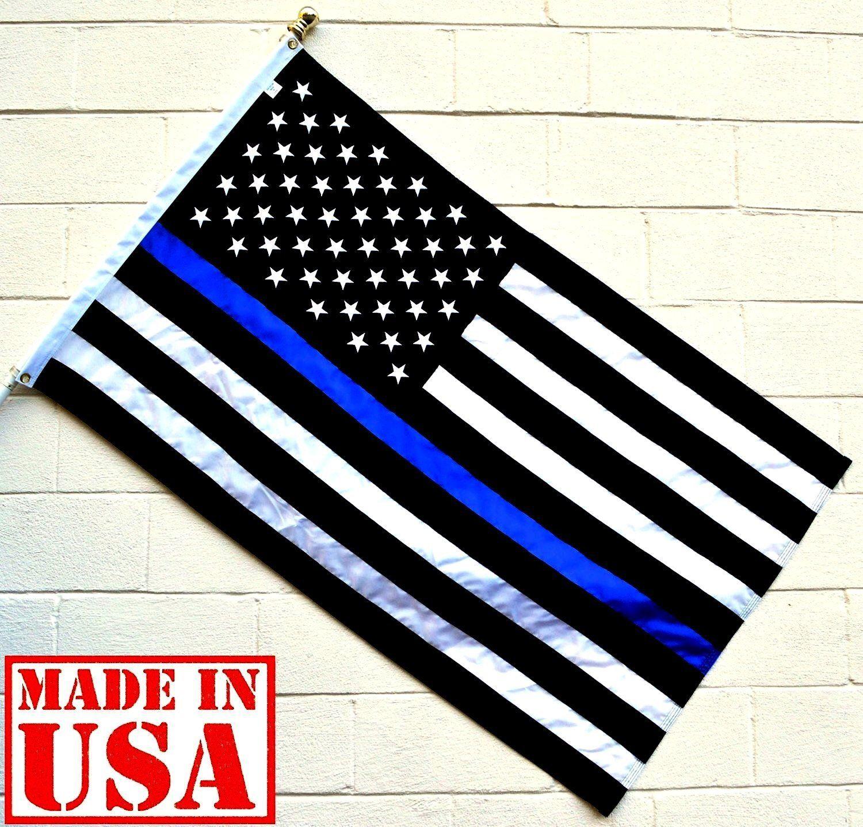 1da07653974a US Flag Factory 3 x5  American Thin Blue Line Flag (Embroidered Stars