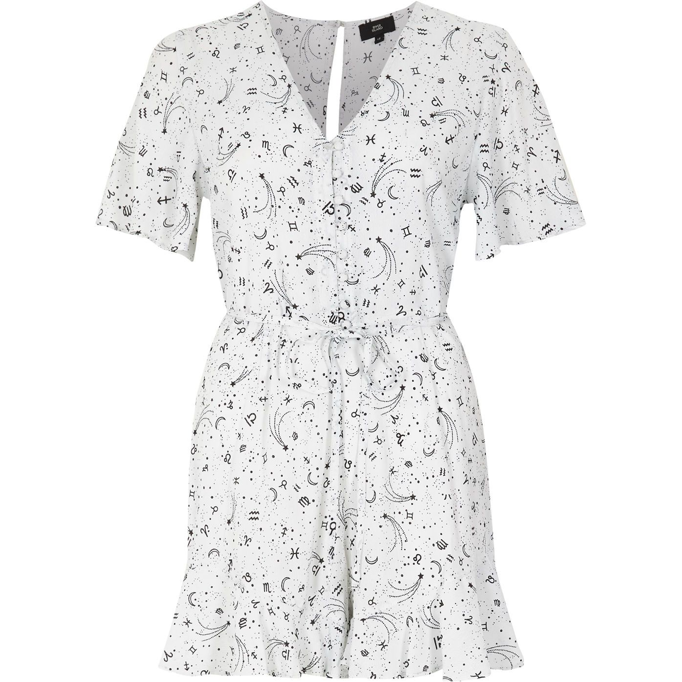 Cream zodiac print tea dress style playsuit playsuits sale items