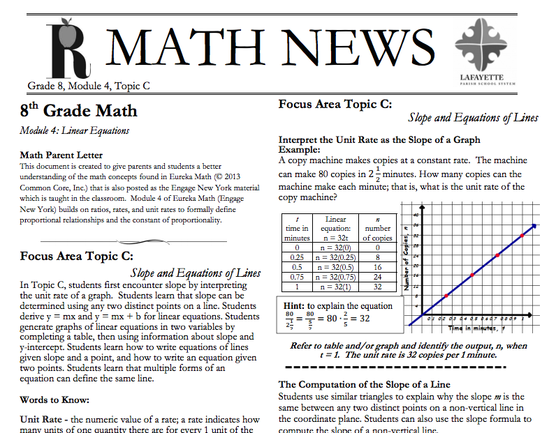 Grade 8, Module 4, Topic C, parent newsletter developed by