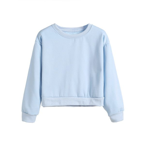 Light Blue Drop Shoulder Crop Sweatshirt (210 ZAR) ❤ liked on ...