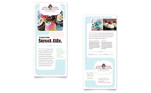 bakery cupcake shop rack card template word template publisher