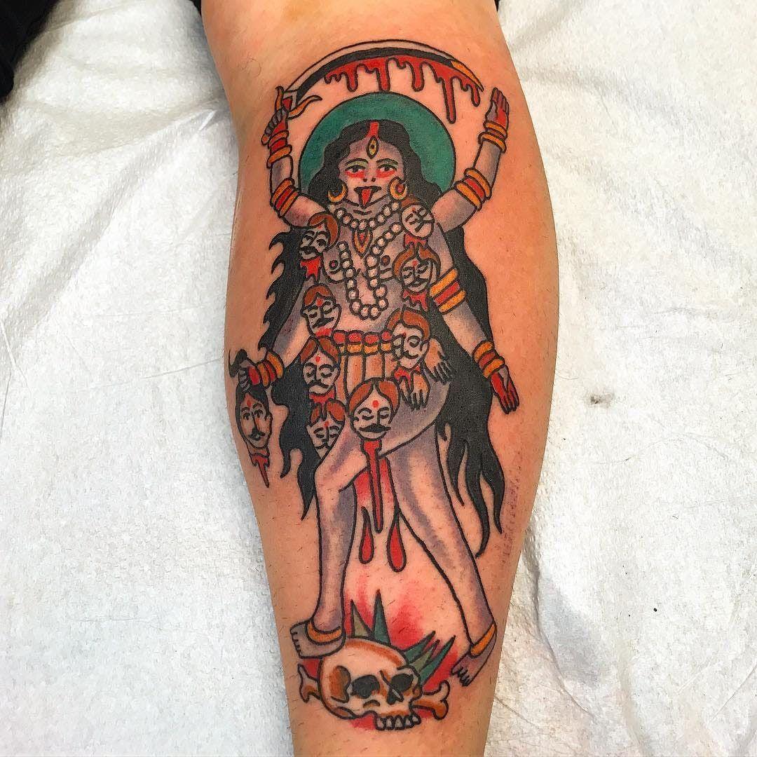 70a9ad5eb7f6e Tattoo by Robert Ryan #RobertRyan #color #traditional #Hindu #surreal  #GoddessKali #Kali #deity #skull #blood #sword #thirdeye