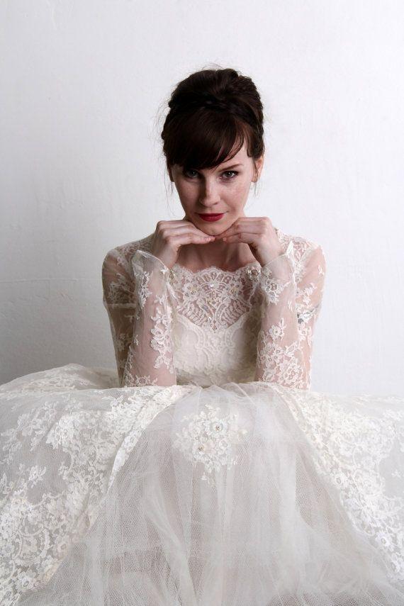 ON HOLD - 1950s Wedding Dress . Vintage Bridal Gown & Veil . Mid ...