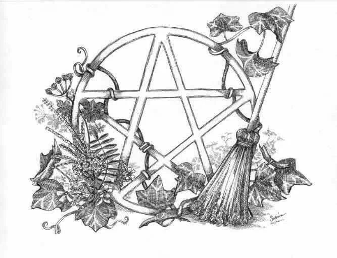 Wiccan Pentagram Coloring Sketch Coloring Page Wiccan Coloring