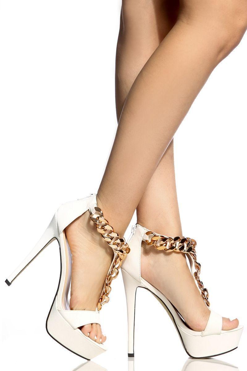 5b65d09205eb White Faux Suede Chain Accent T Strap Platform Heels   Cicihot Heel Shoes  online store sales Stiletto Heel Shoes