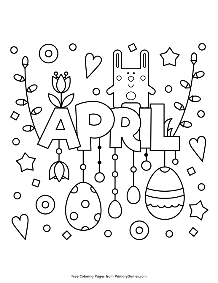 spring coloring pages ebook april free printable