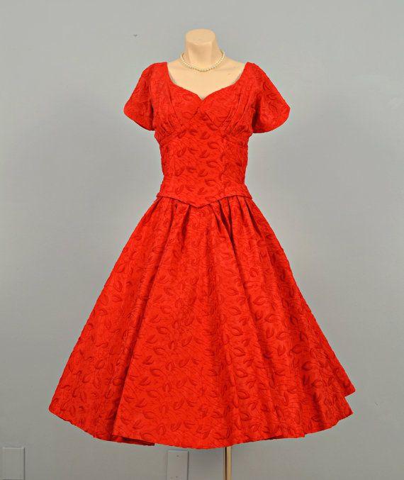 Vintage 1950s Party Dress...SUZY PERETTE Red Cotton by deomas, $198.00
