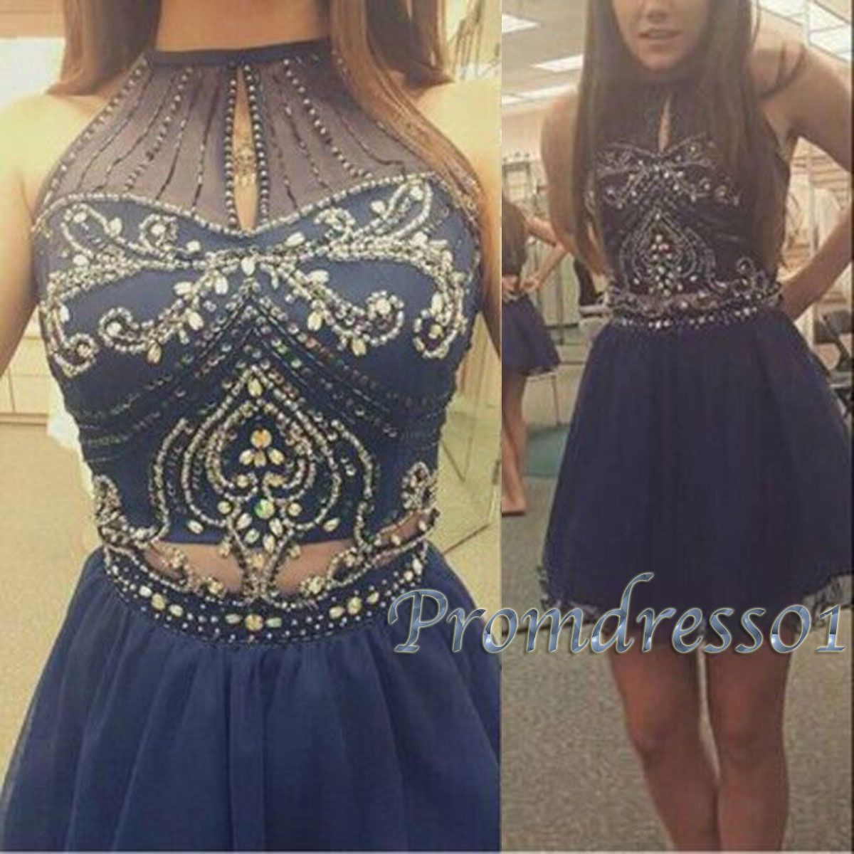 Cute short prom dress navy blue chiffon prom dress for teens party