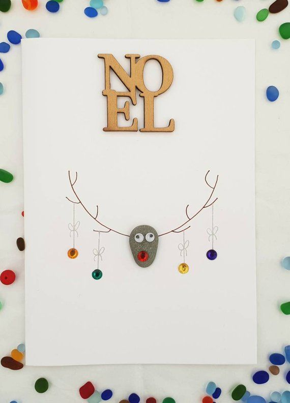 Handmade christmas Cards NOEL handmade xmas pebble card