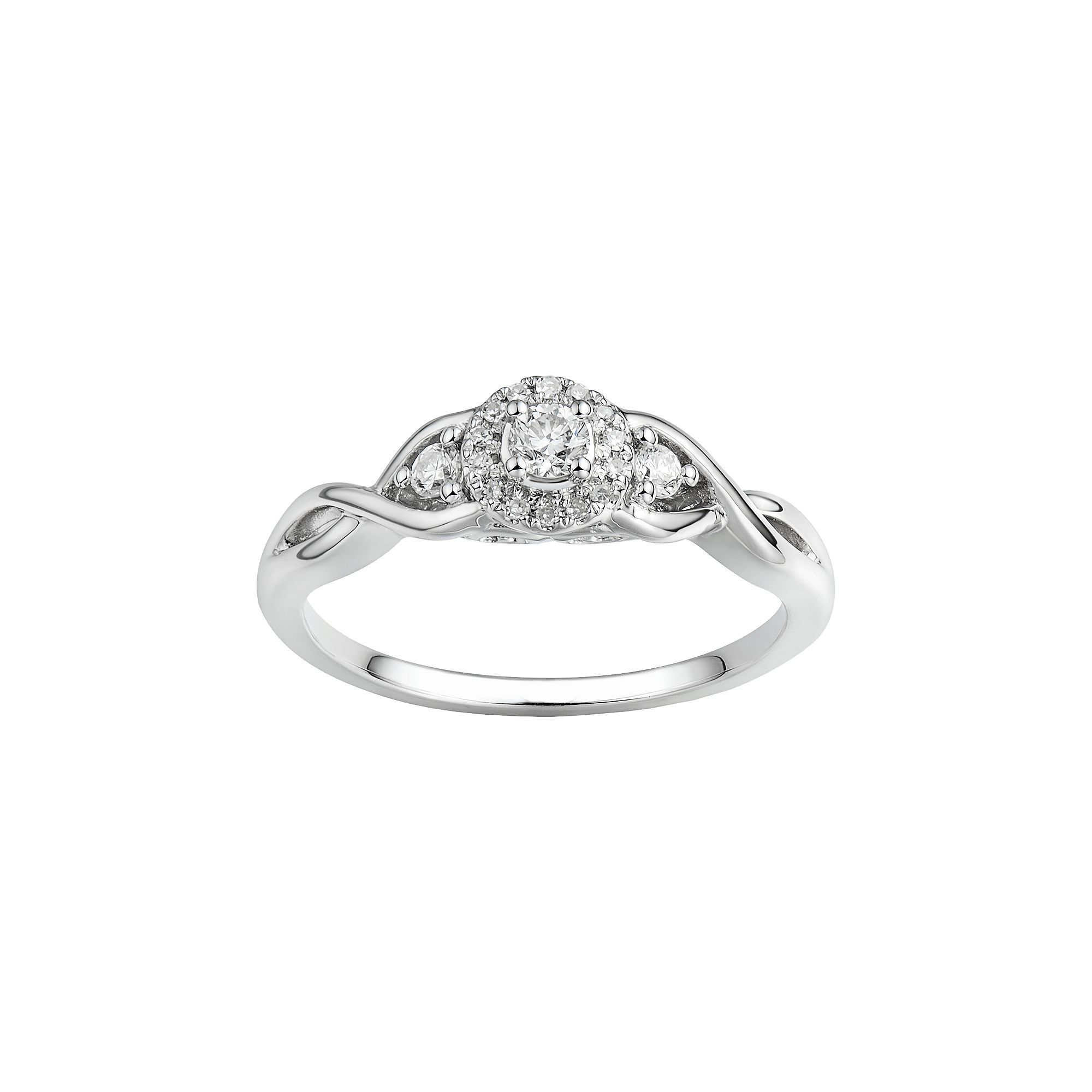 10k White Gold Diamond Cluster Twist Engagement Ring Wedding Anniversary 1//5 ct