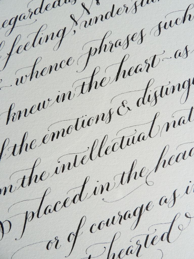 Calligraphy heart detail copperplate lettering