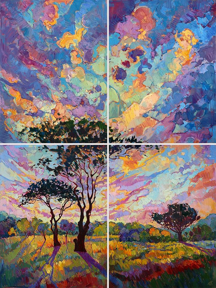 gorgeous open impressionism paintings of colorful landscapes by erin