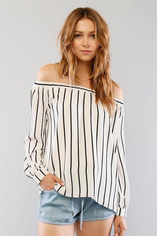 abc7c8e4e80a Long Sleeve Striped Off the Shoulder Blouse - White Black