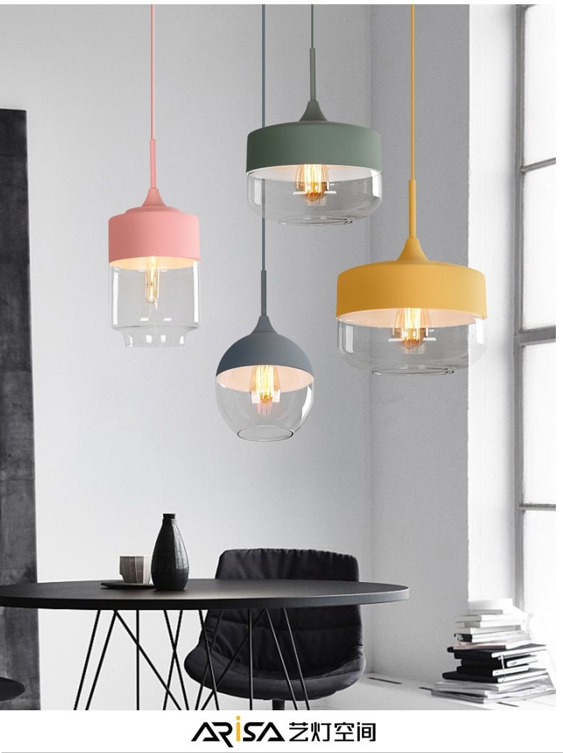 Nordic Postmodern Pendant Lights Creative Personality Led Macarons Cafe Restaurant Home Bar Colo Pendant Light Fixtures Unusual Pendant Lights Pendant Lighting