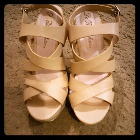 DeBlossom nude wedges Never worn size 7.5 nude DeBlossom slingback wedges DeBlossom  Shoes Wedges