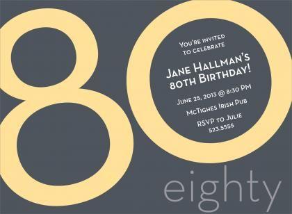 80th birthday invitations male | 80th birthday celebration, Birthday invitations