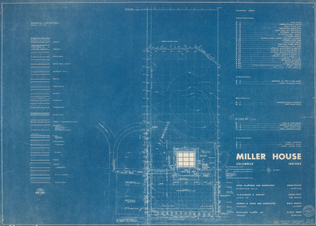Documenting modern living a tumblr on the creation of saarinens 001 miller house drawing index blueprint from eero saarinen assoc and alexander girard malvernweather Images