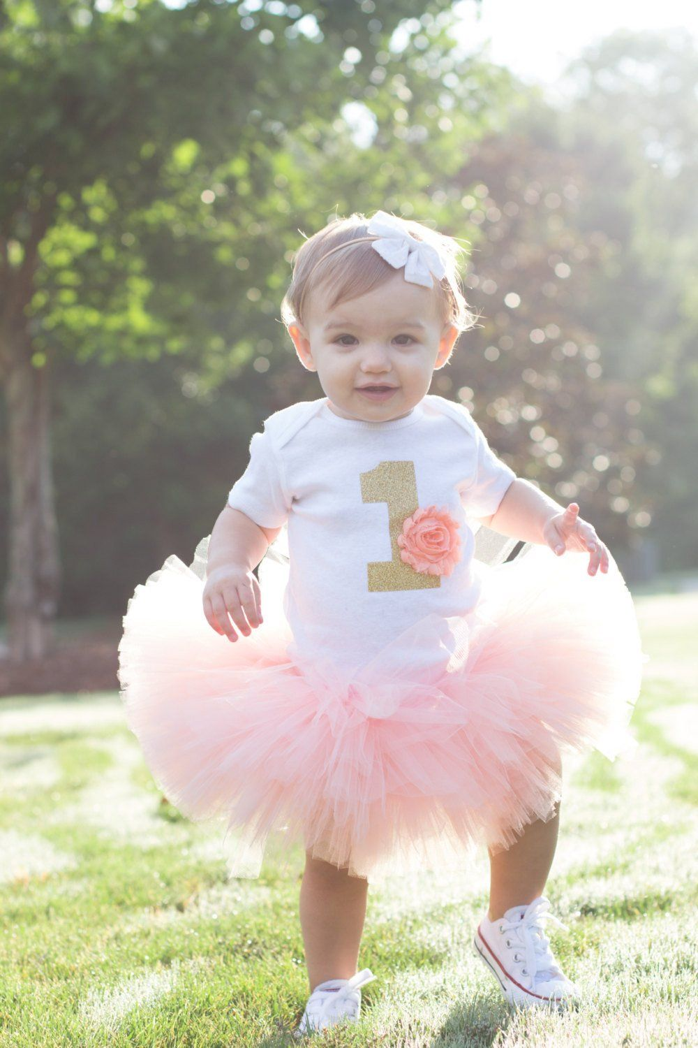 Peach and Gold 1 First Birthday Outfit 1st birthday