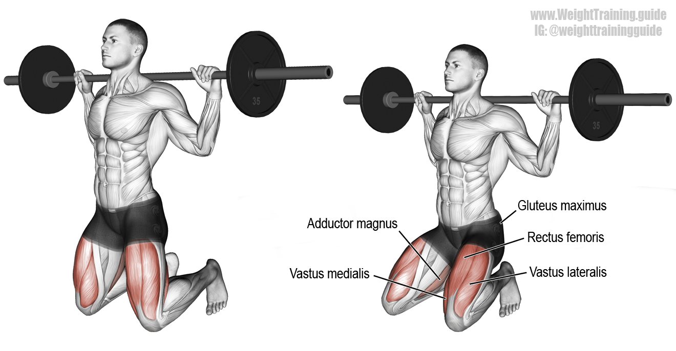 Barbell Kneeling Squat Instructions And Video Leg And